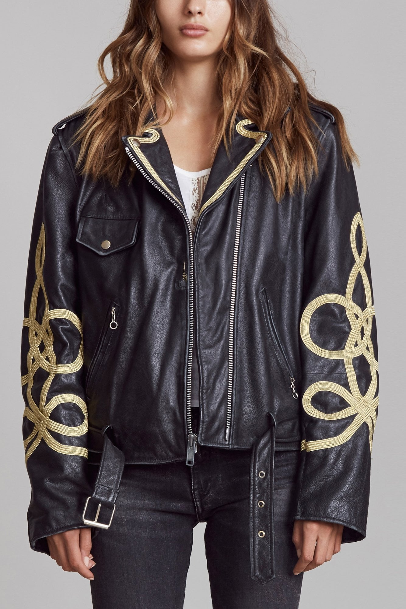 Motorcycle Jacket with Sleeve Braids