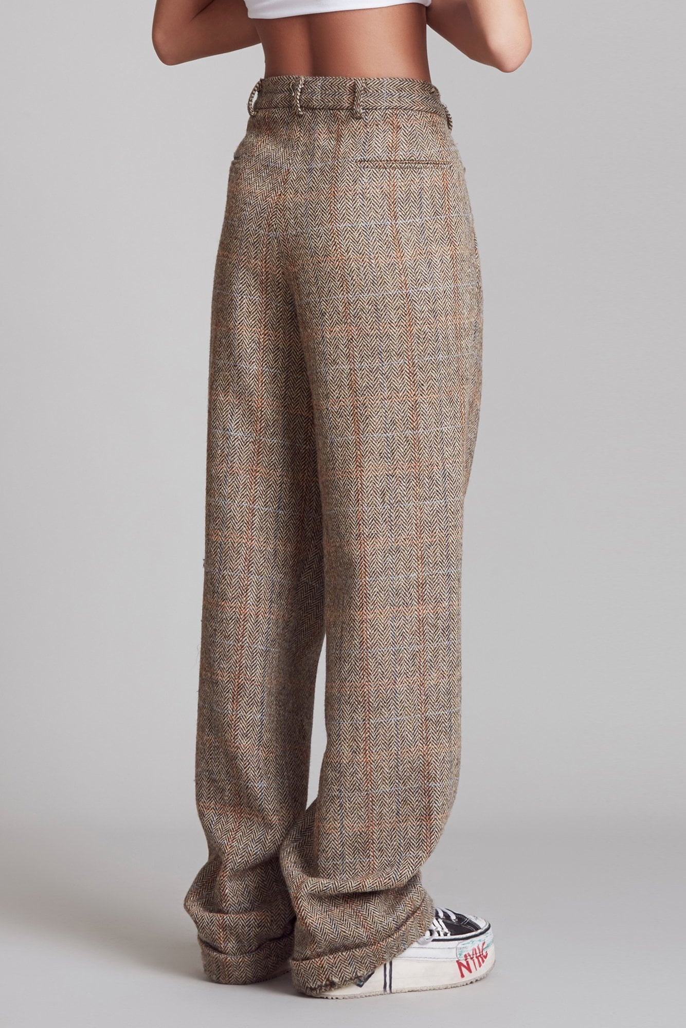 Triple Pleat Crossover Trouser - Brown Herringbone