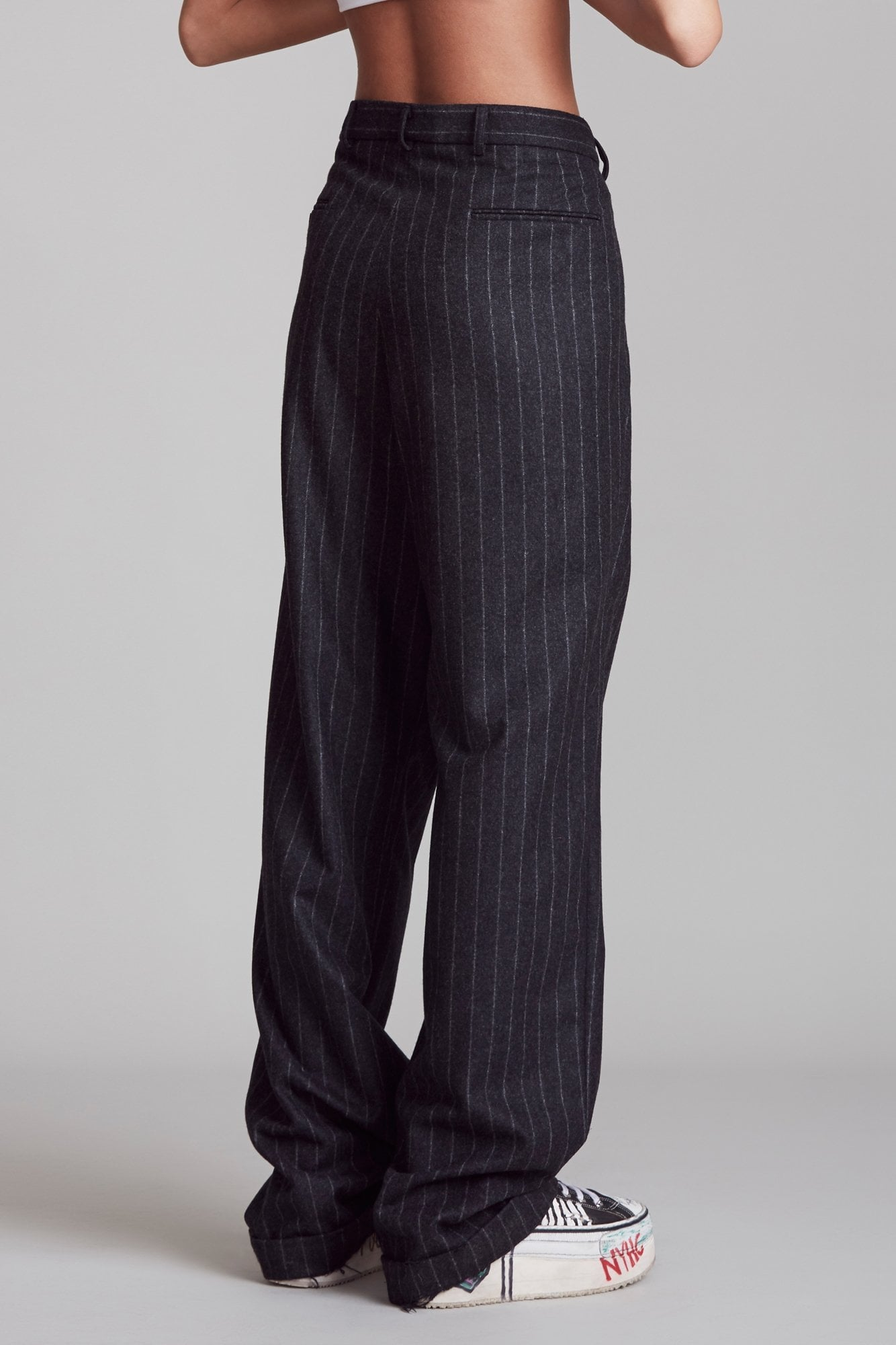 Triple Pleat Crossover Trouser - Black Pinstripe