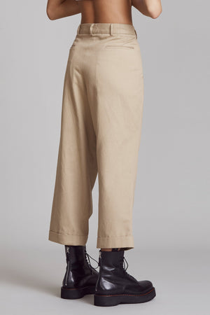 Cropped Triple-Pleat Crossover - Khaki