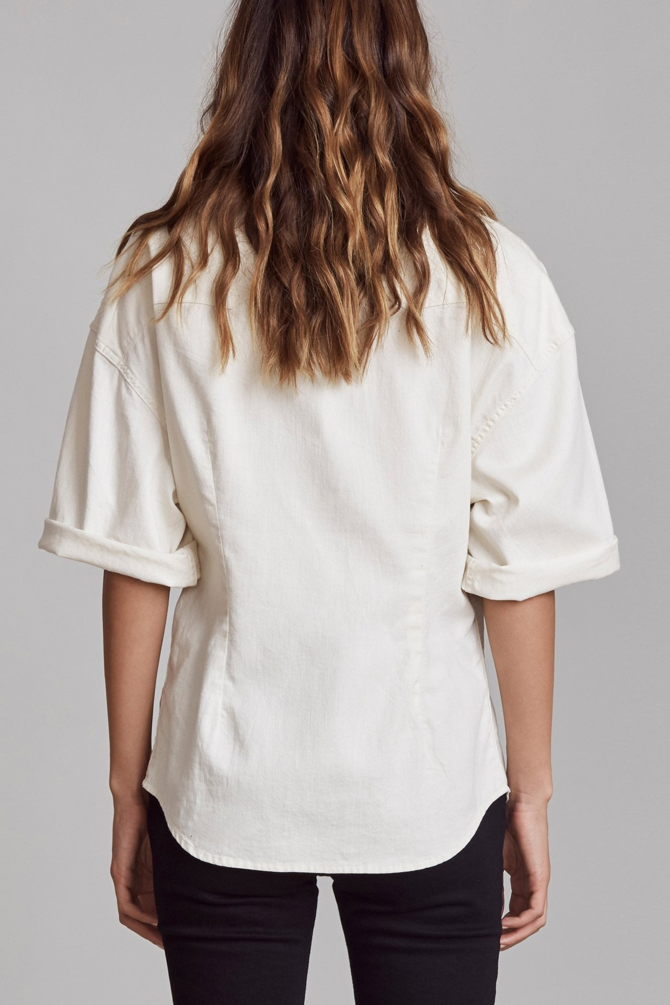 Oversized Short Sleeve Cowboy Shirt - White