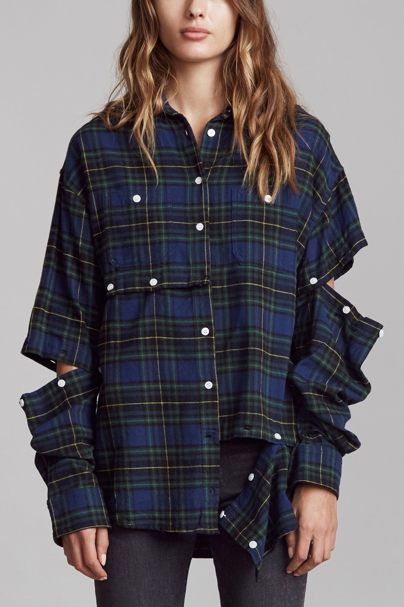 Undone Shirt - Blue and Green Plaid