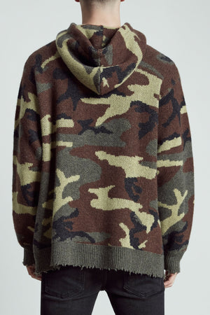 Camo Cashmere Hoodie Sweater
