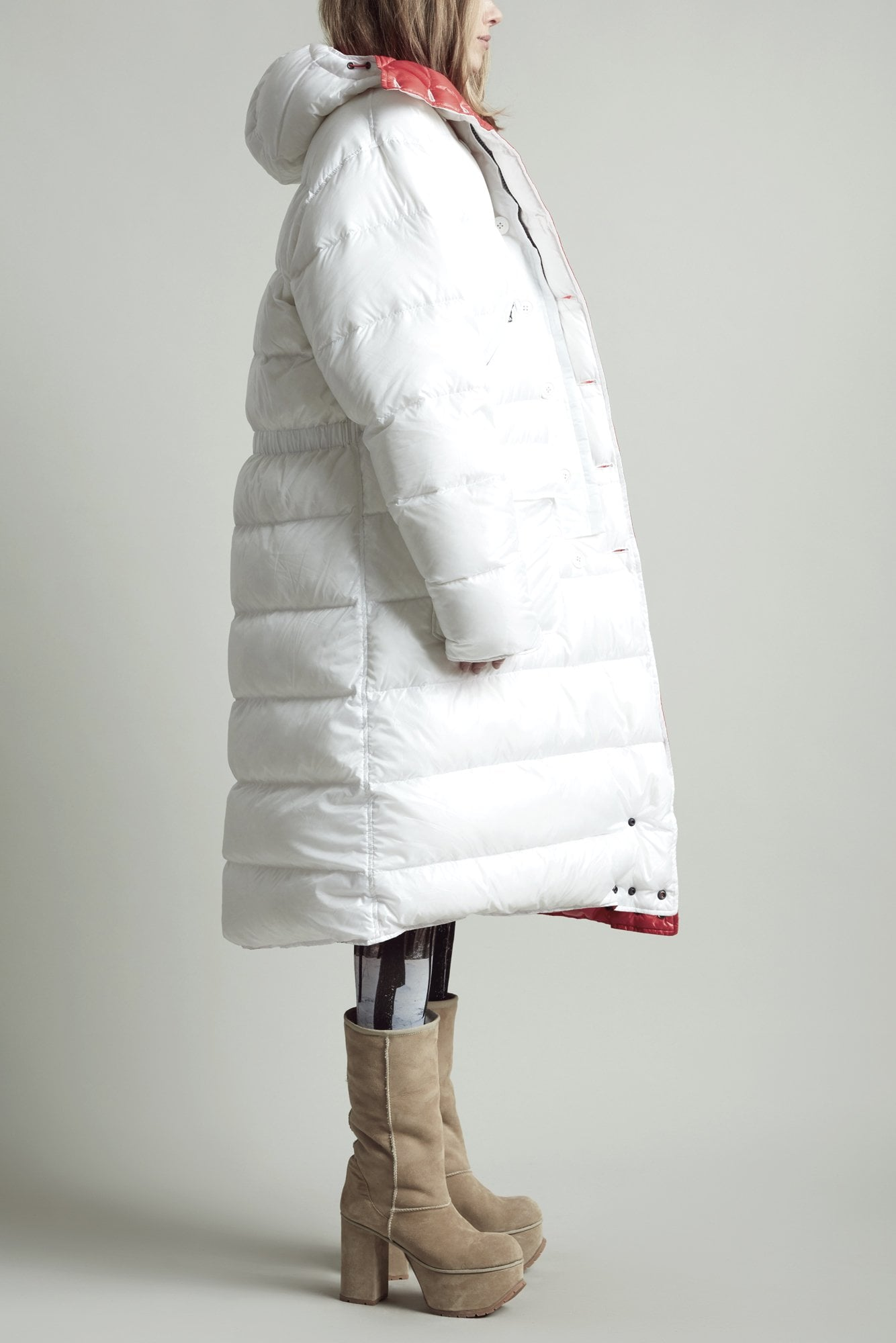 Long Anorak Puffer Jacket - White/Red