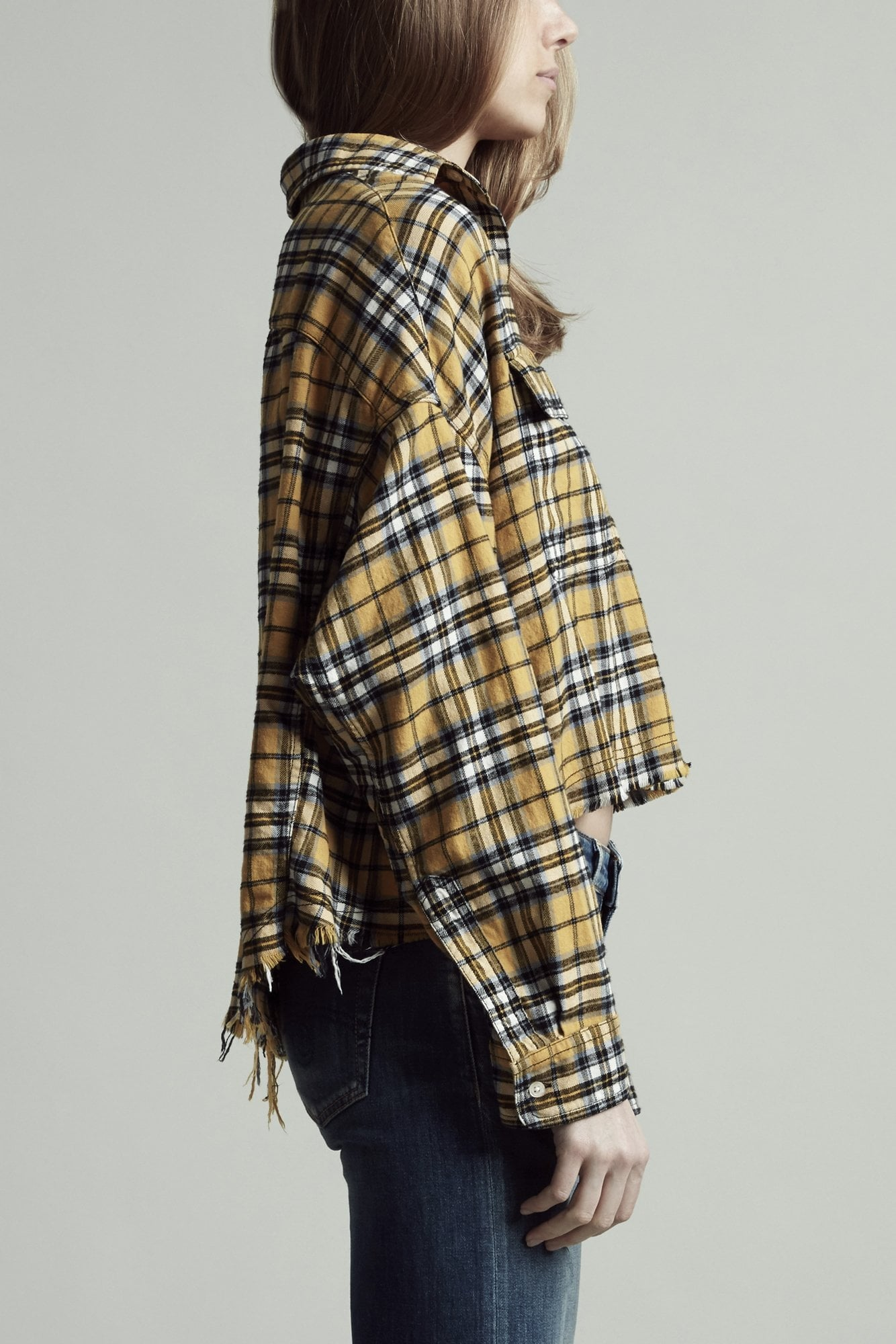 Cropped Work Shirt - Yellow Plaid