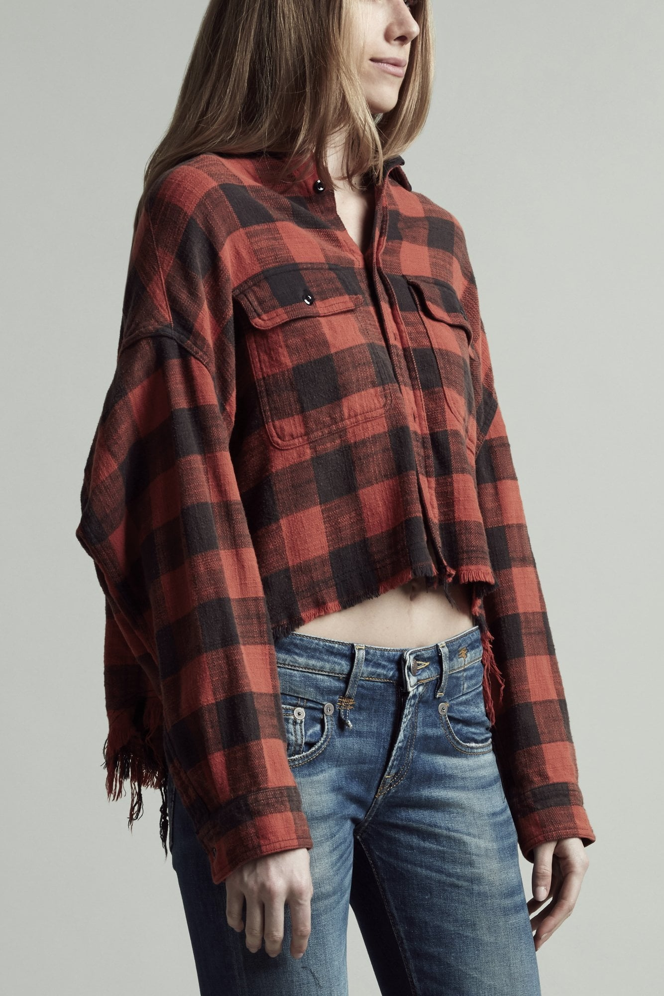Cropped Work Shirt - Red Plaid
