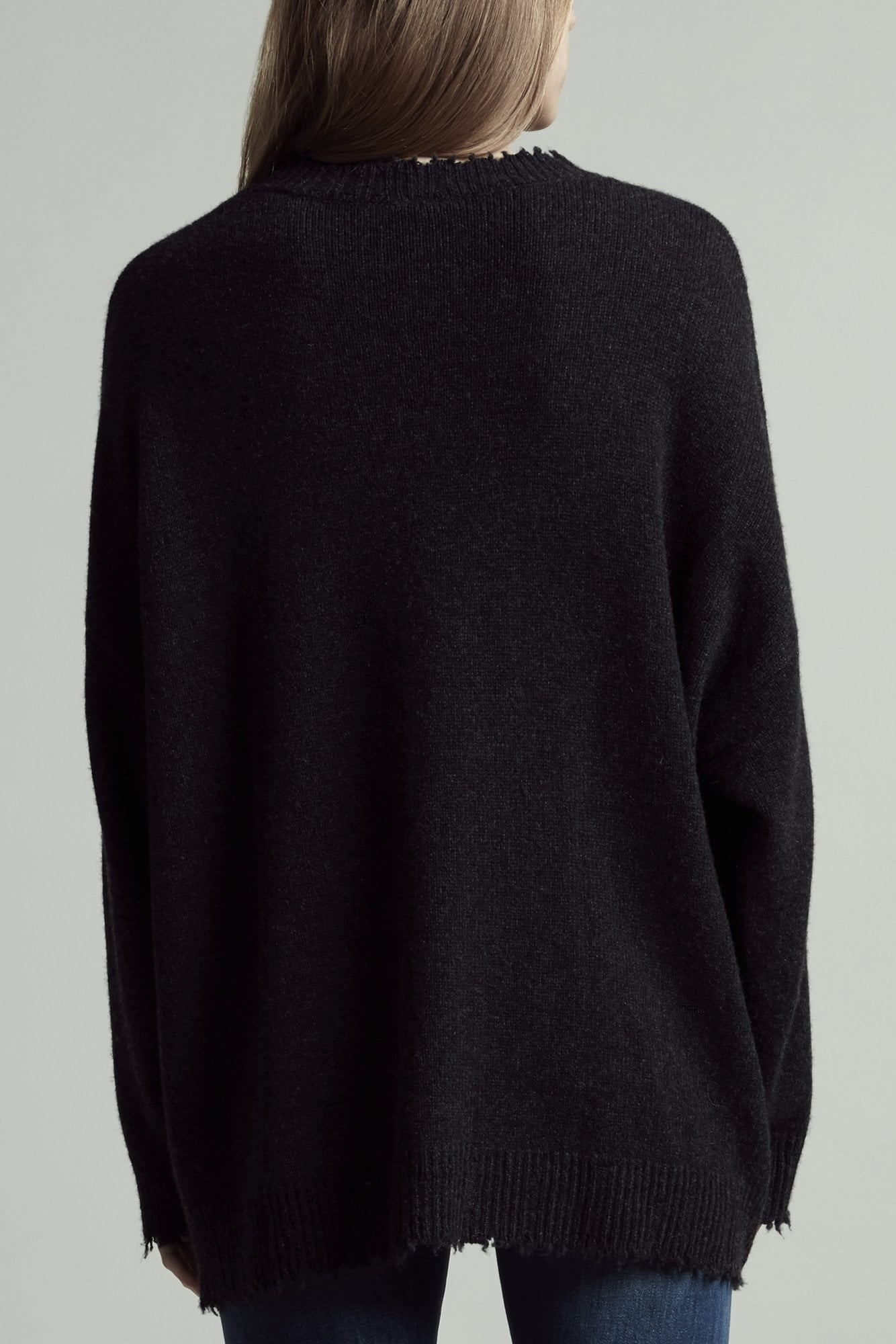 Boyfriend Crewneck Cashmere Sweater - Charcoal