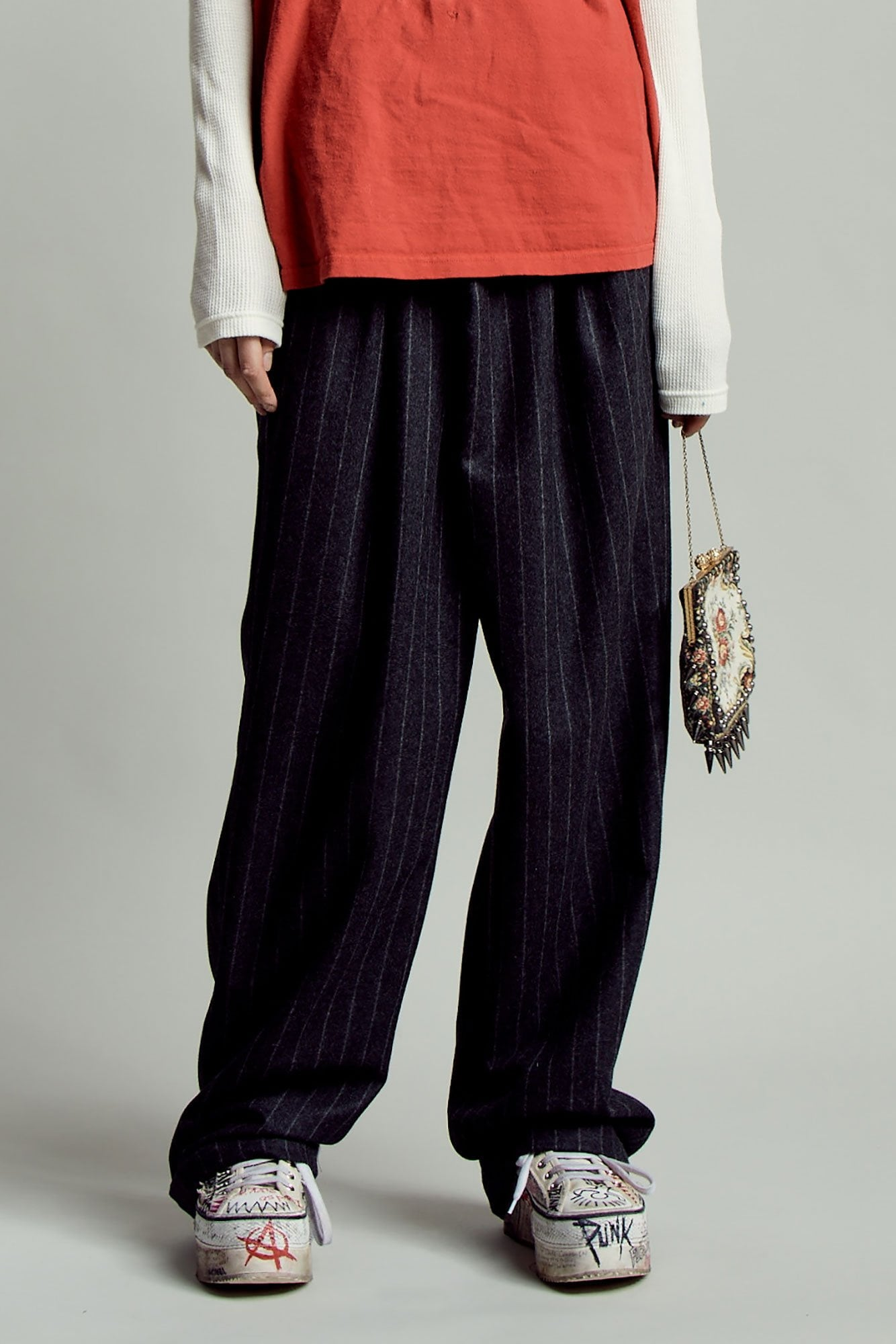 Crossover Trouser- Black Pinstripe