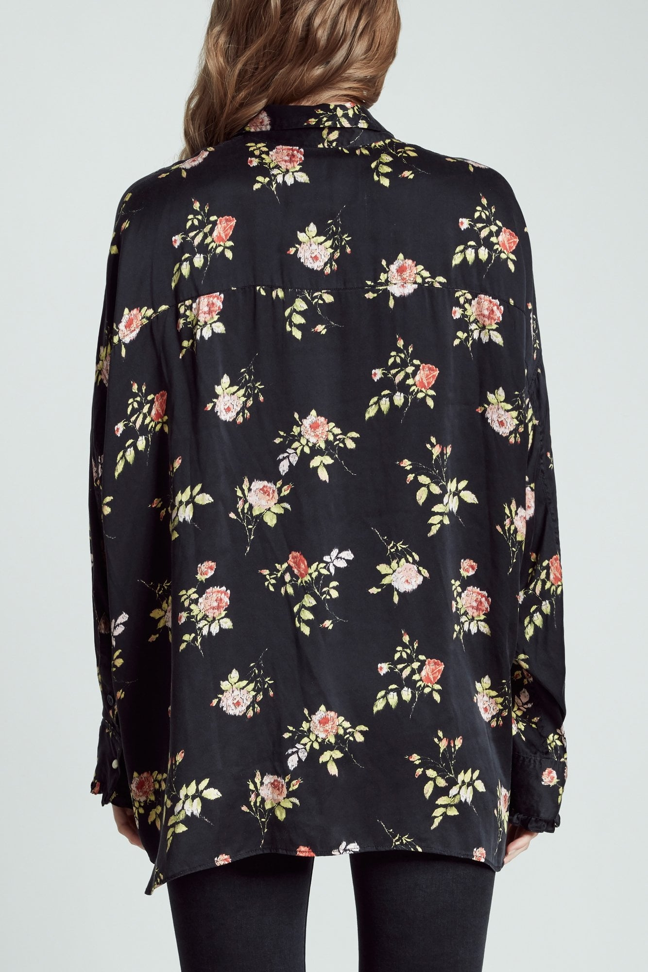 Drop Neck Tuxedo Shirt- Black Floral