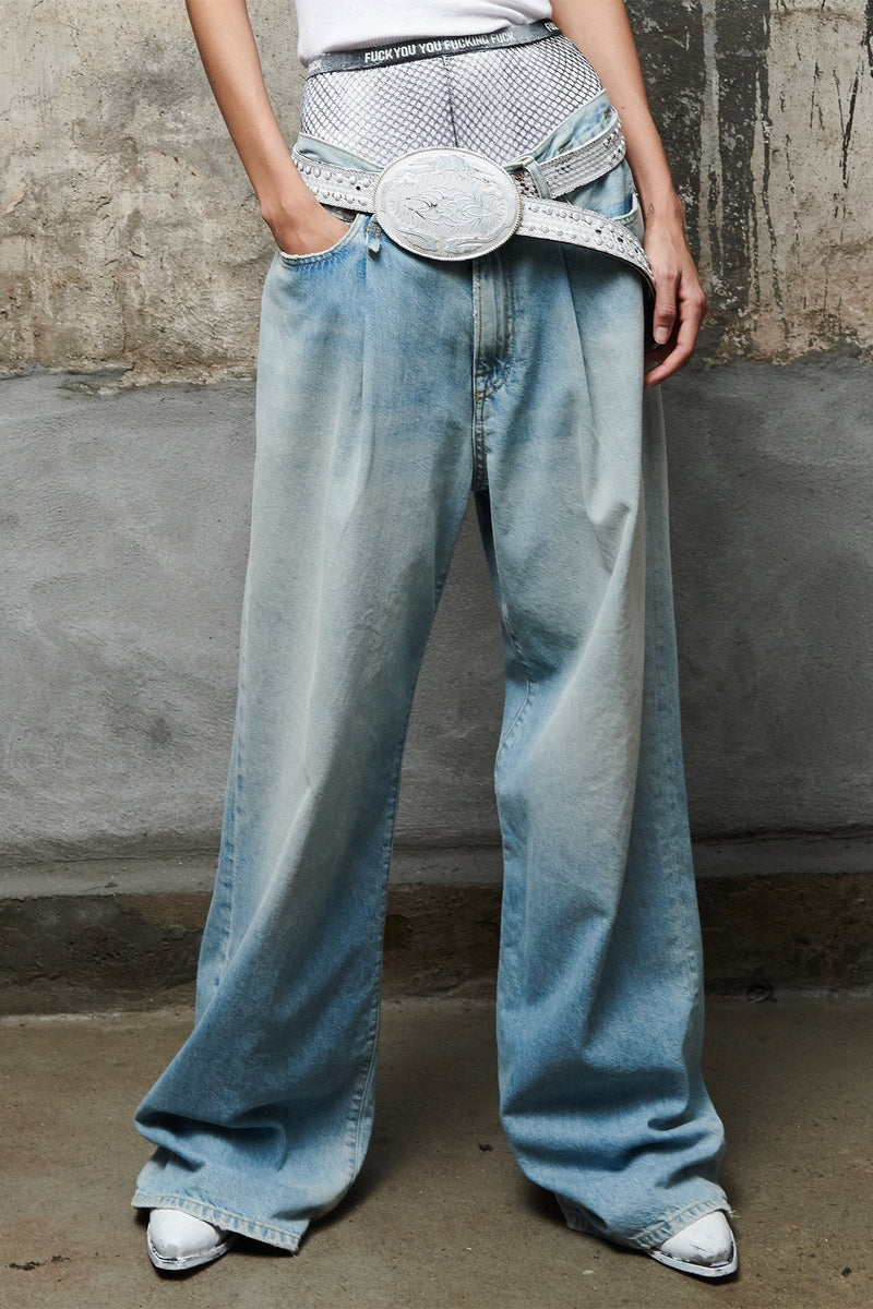 DAMON PLEATED WIDE LEG - LENNON BLUE
