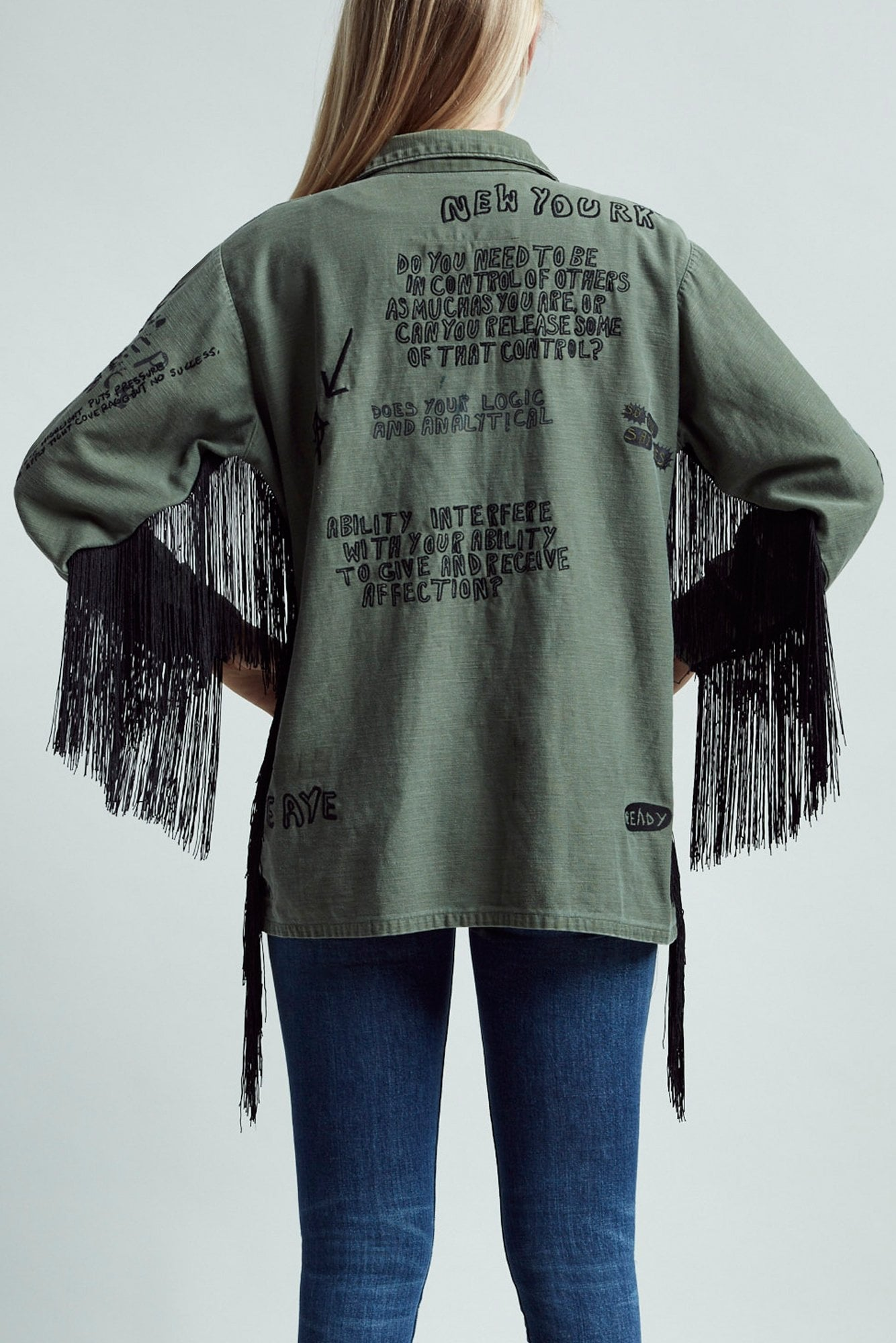 Embroidered Surplus Shirt with Fringe
