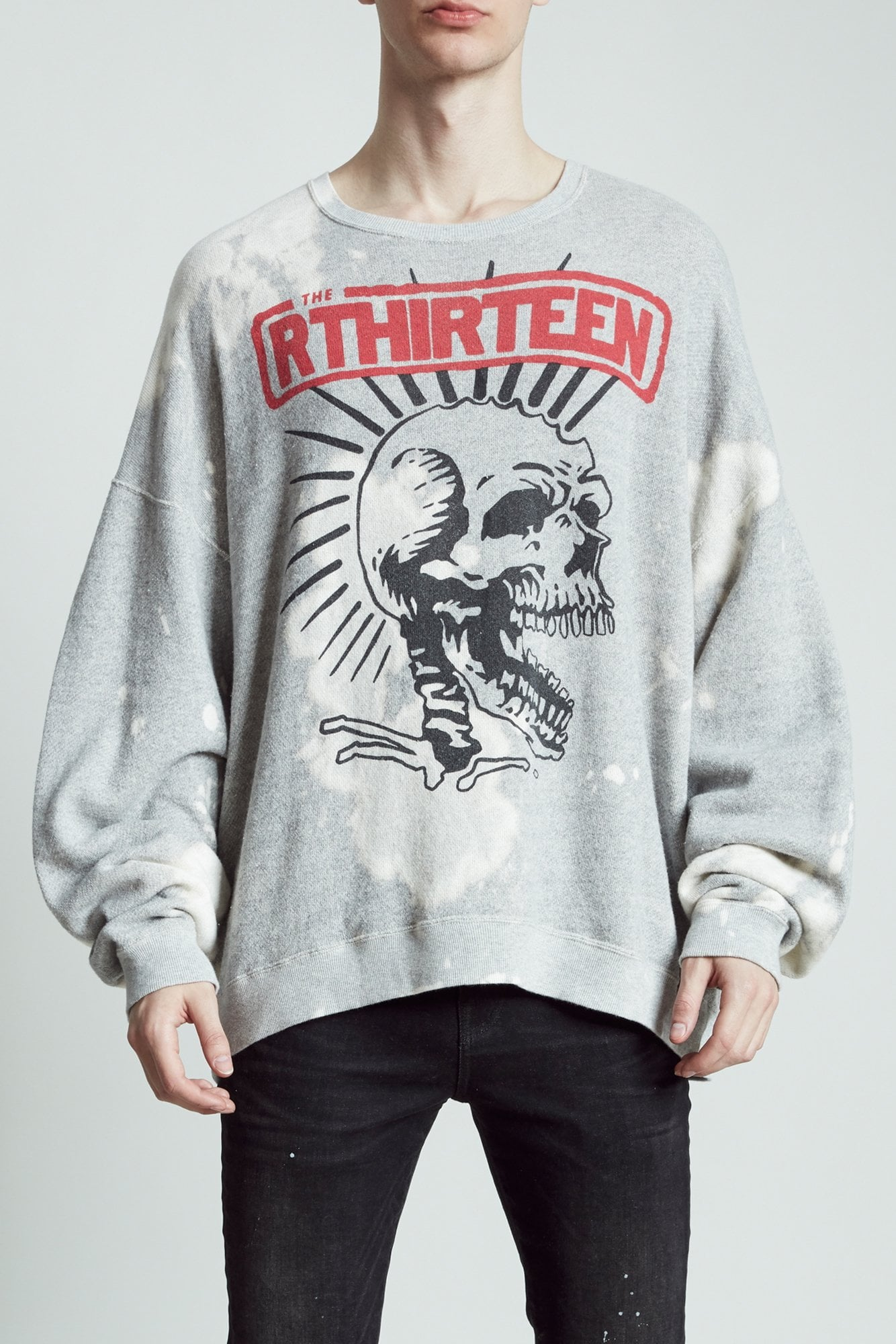 Exploited Punk Oversized Crewneck- Heather Grey