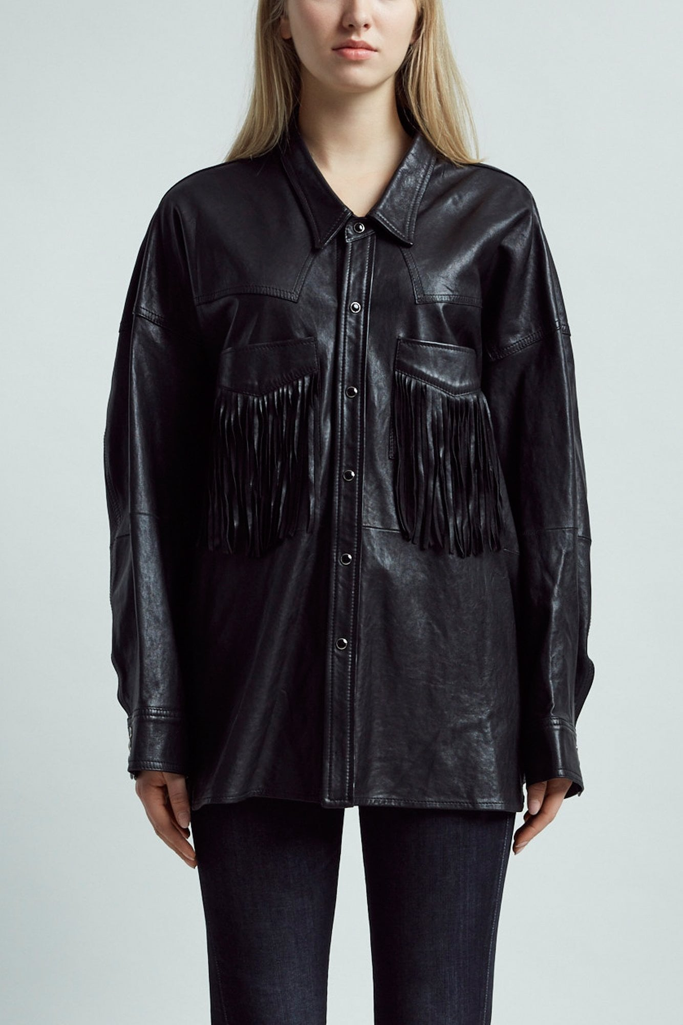 Fringe Leather Shirt– Black