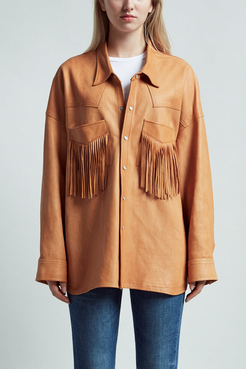 Fringe Leather Shirt– Tan