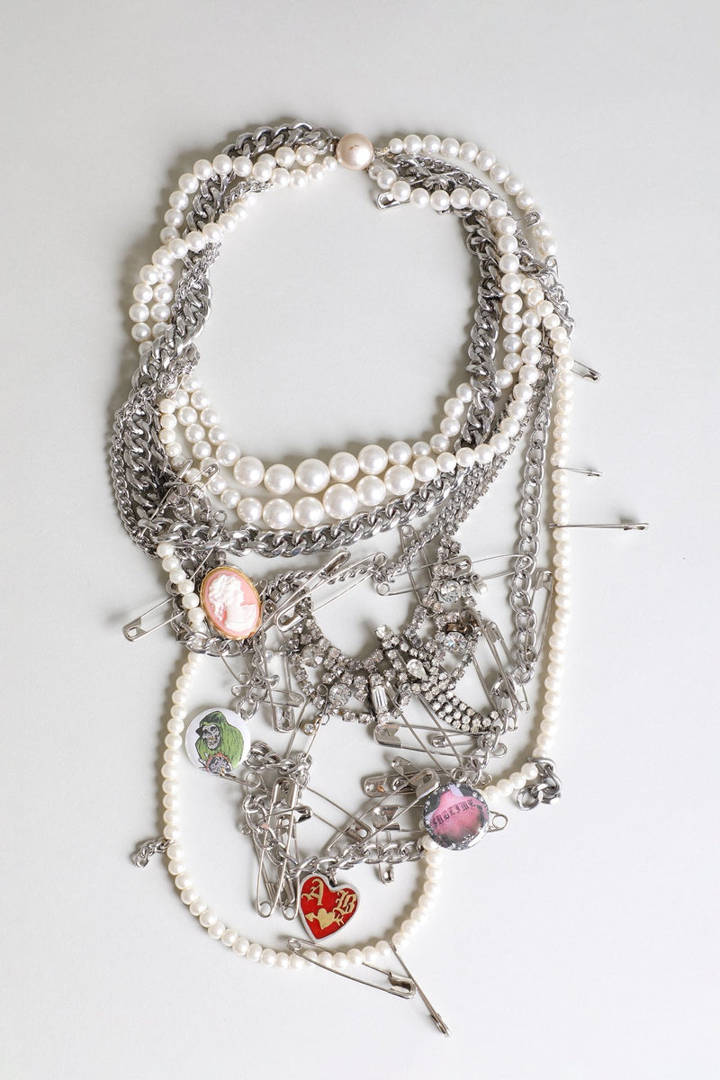 Punk Pearl AB Heart Necklace