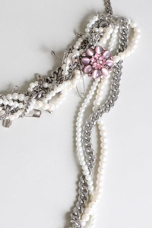 Punk Pearl Pink Jewel Necklace