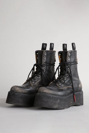 Double Stack Boot - Cracked Black