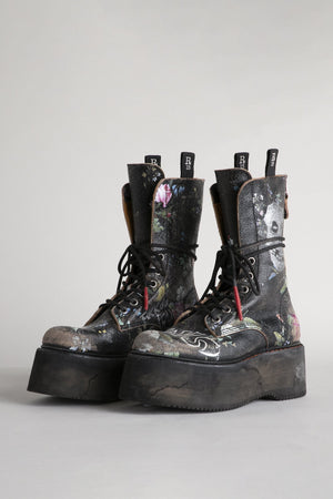 Double Stacked Xtra Tall Shaft Boots - Cracked Floral