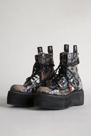 Double Stack Lace-Up Boots - Cracked Floral