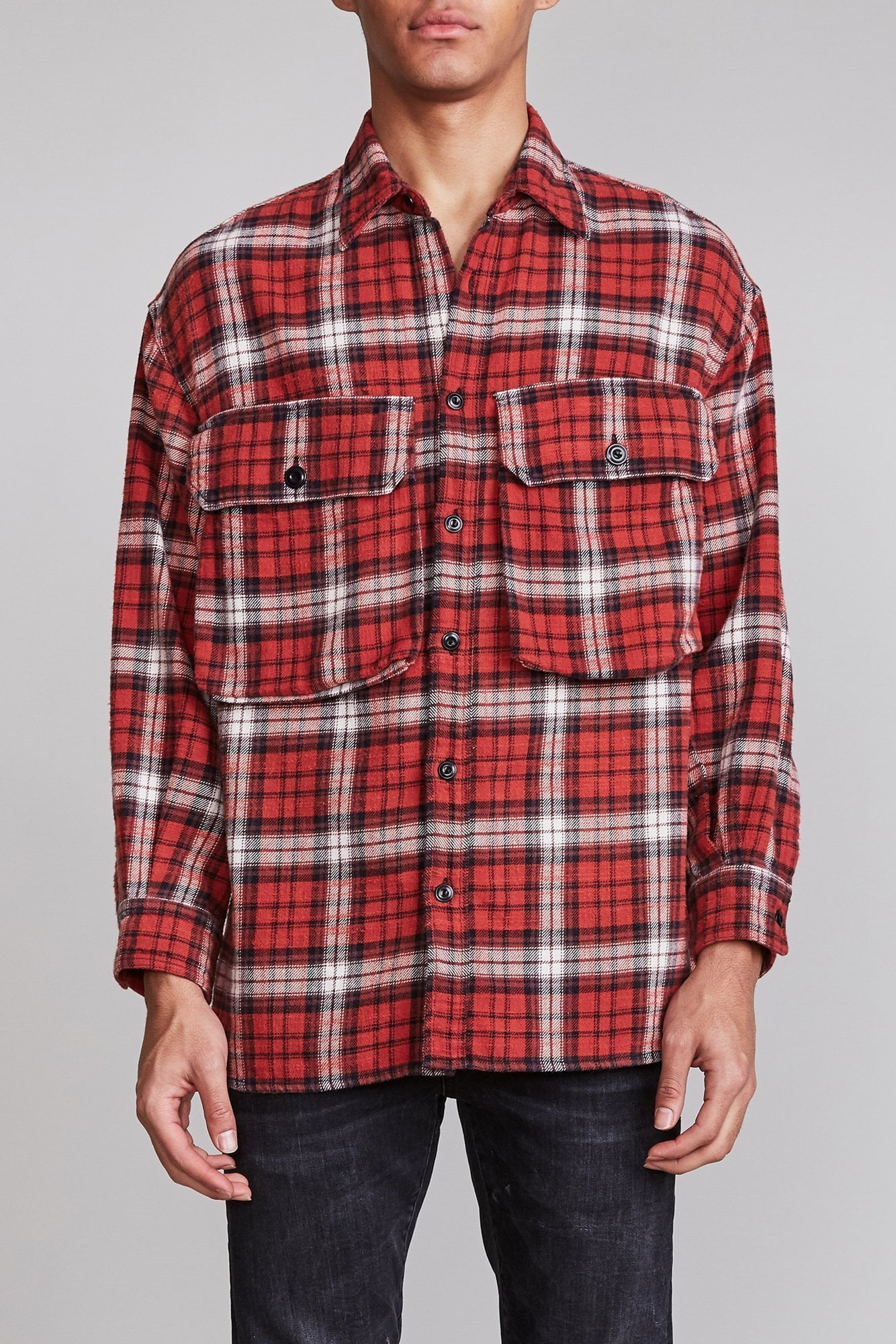 Oversized Shirt - Red Plaid