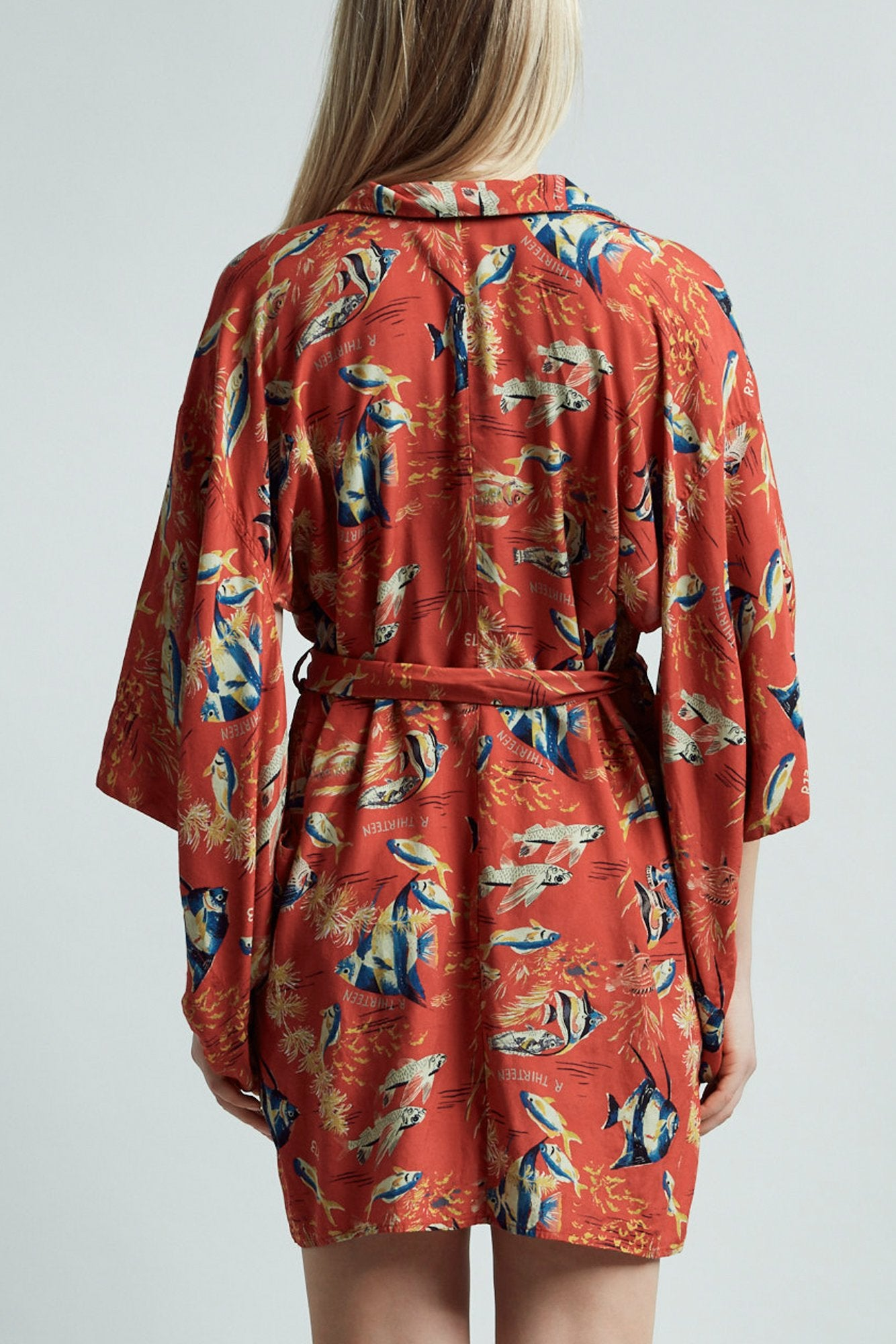 Hawaiian Kimono Dress– Red Fish
