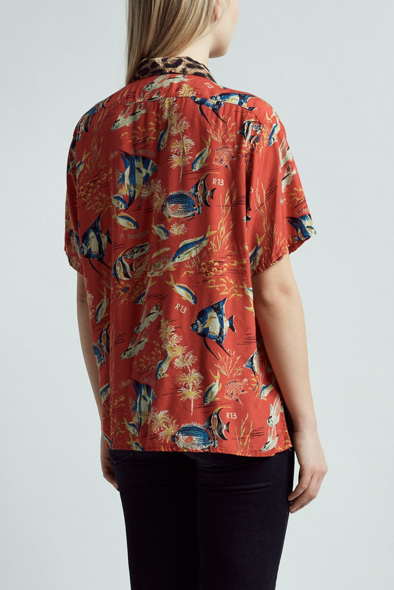 Hawaiian Shirt – Red Fish with Leopard