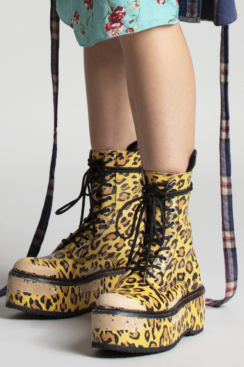 Double Stacked Lace-Up Boots - Yellow Leopard
