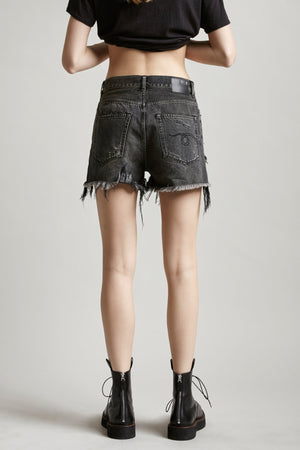 Shredded Slouch Short - Niles Black