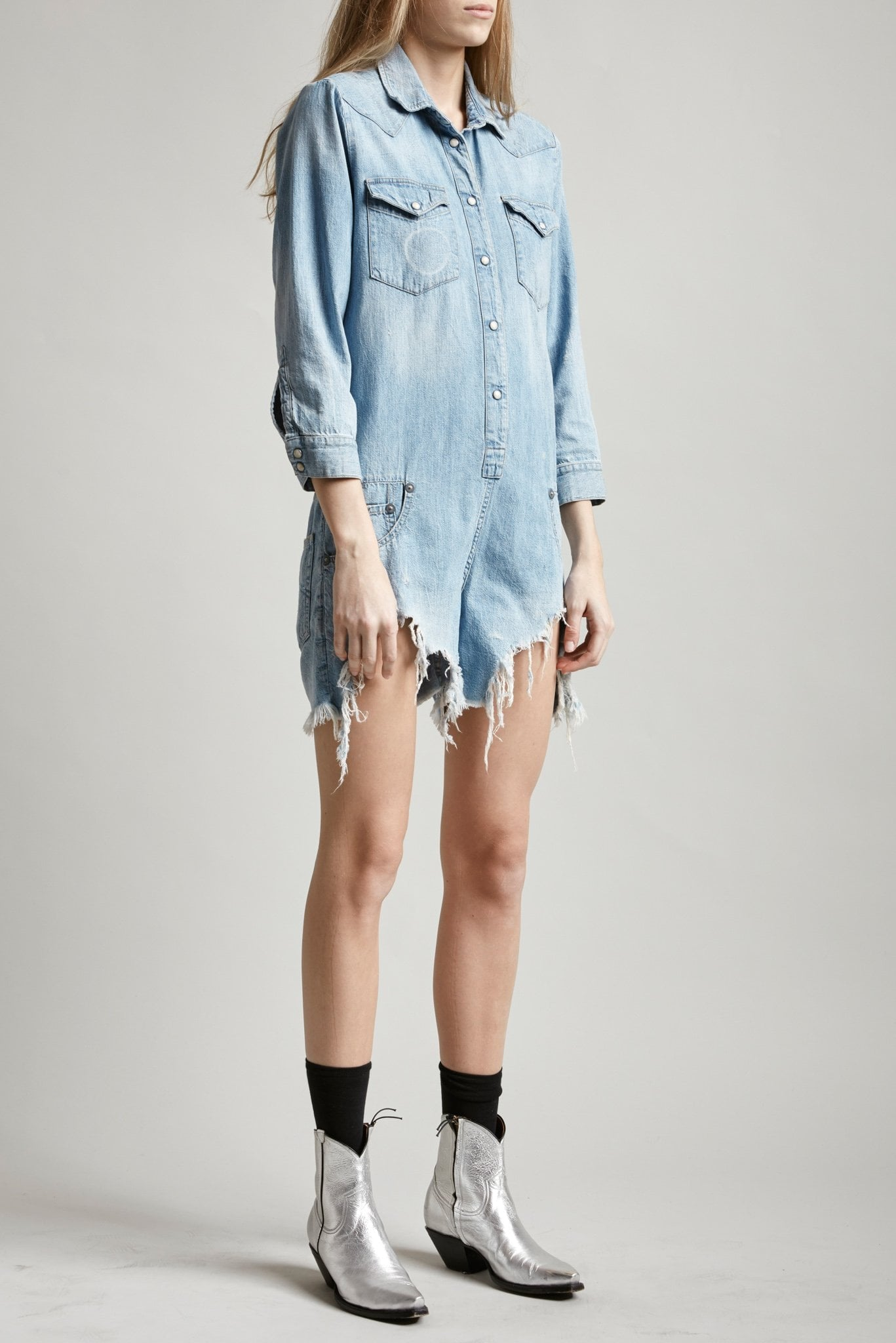 Cowboy Romper with Shredded Hem - Timmy