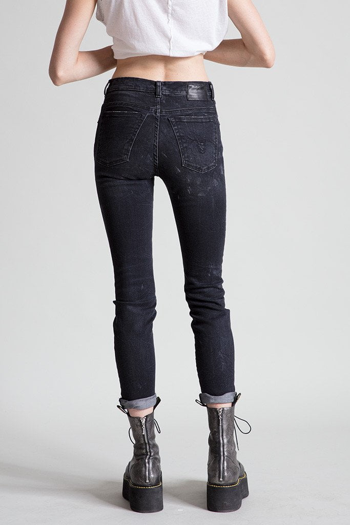 High rise skinny black marble