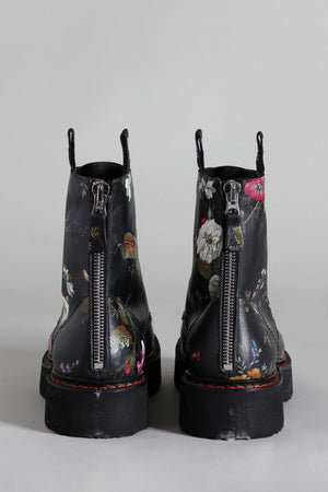 Stack Boot - Black Floral