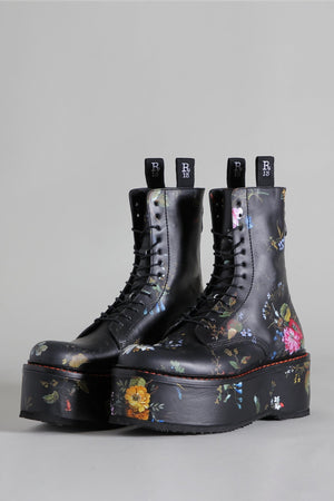 Double Stack Boot - Black Floral