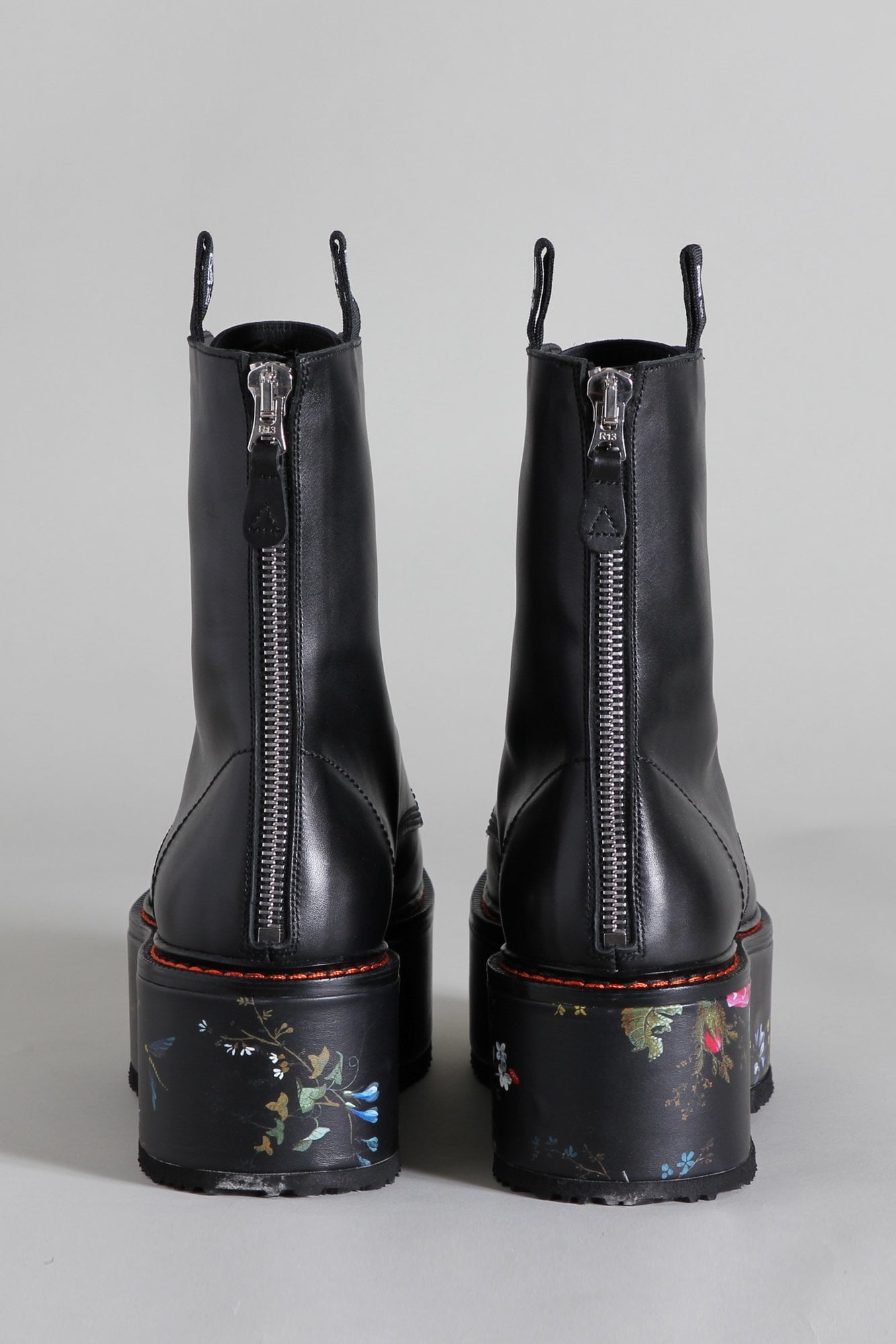 Double Stack Boot - Black with Floral Platform