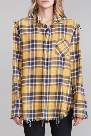 Shredded Seam Shirt - Yellow Plaid