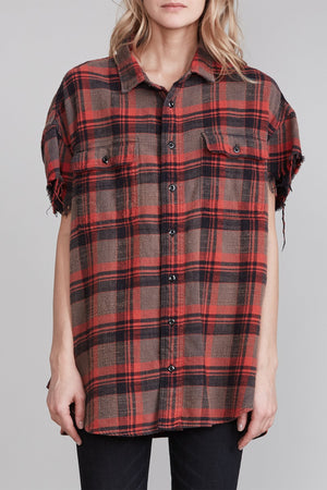 Oversized Cut-Off Shirt - Charcoal Plaid