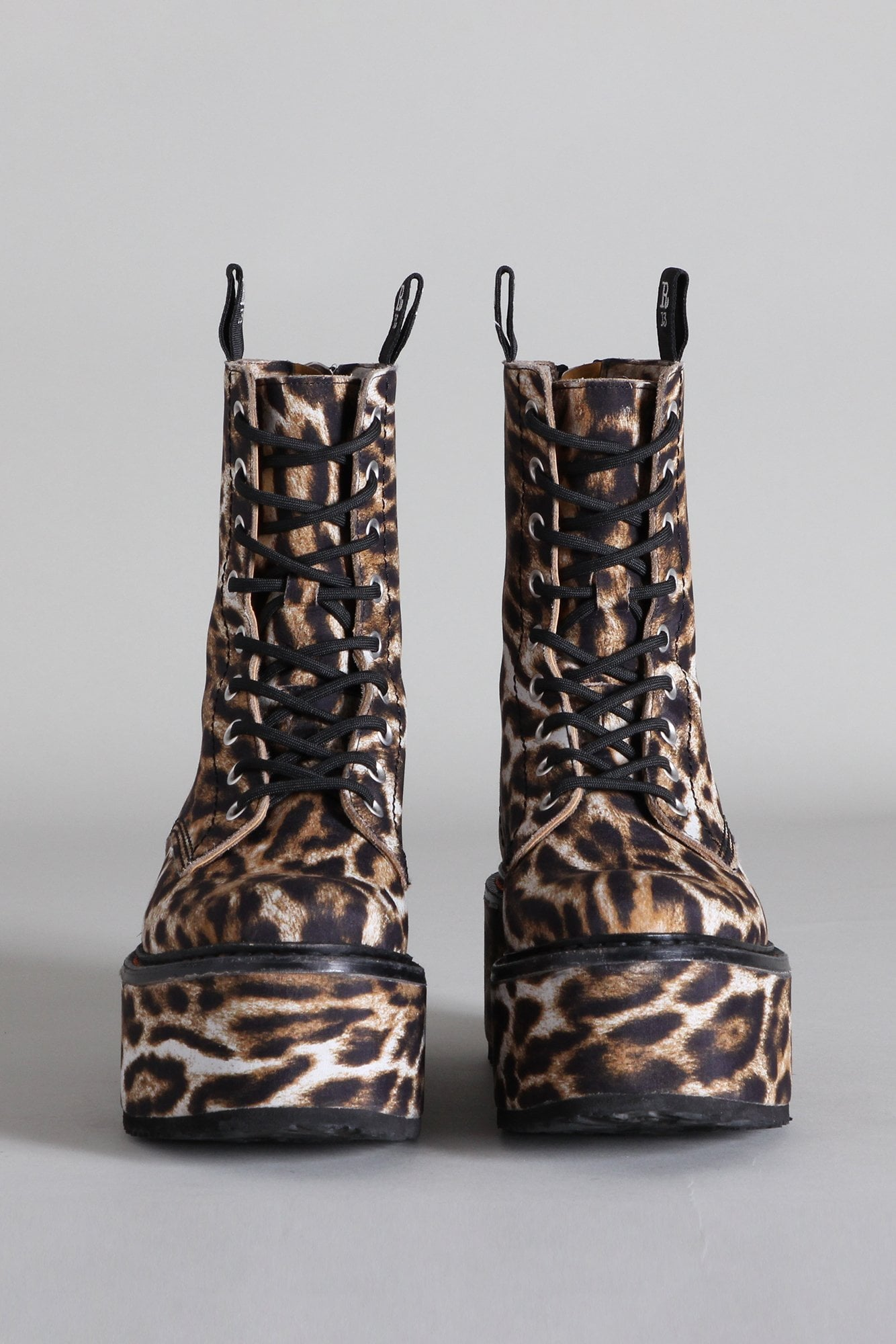 Double Stacked Lace-up Boots - Leopard