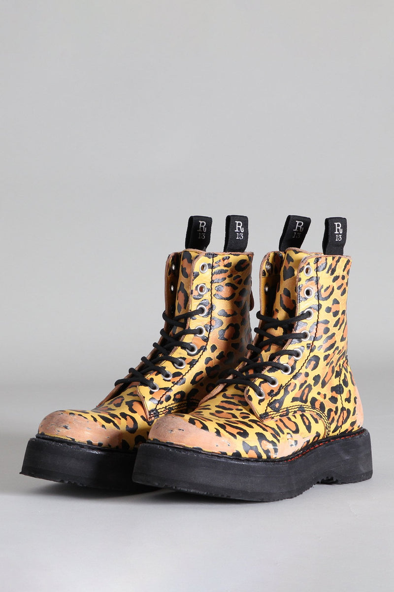 Single Stacked Lace-Up Boots - Yellow Leopard