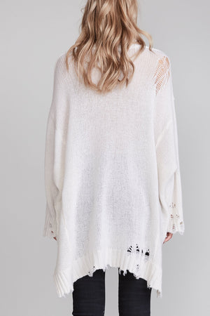 Distressed Cashmere Patti Sweater - Ecru