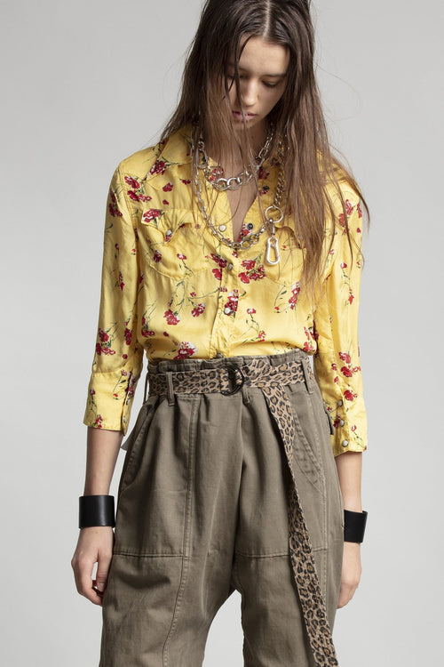 Exaggerated Collar Cowboy Shirt - Yellow Floral