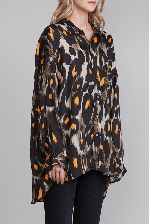 Drop Neck Shirt - Grey and Orange Leopard