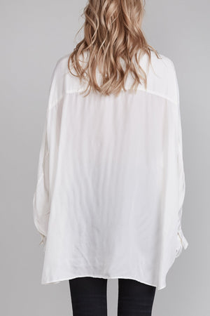 Drop Neck Button Up Shirt - White