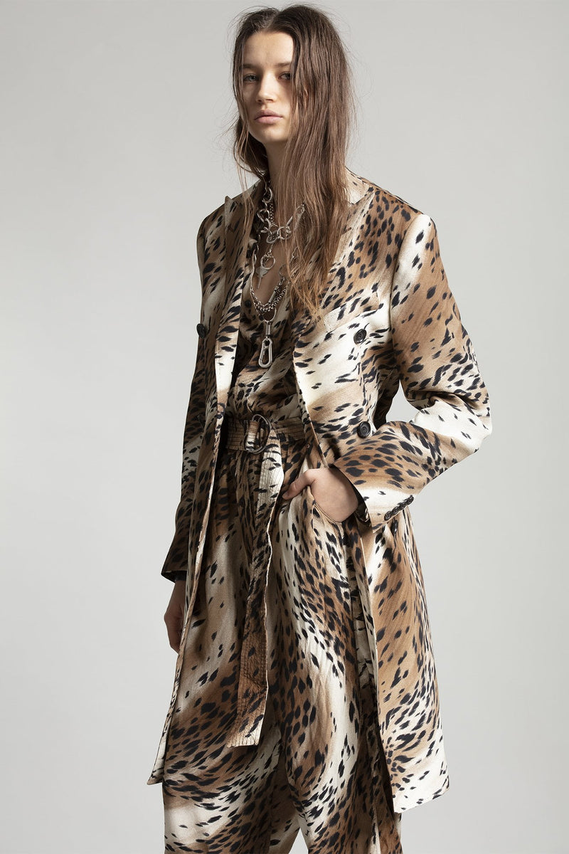 Peak Lapel Double Breasted Coat - Abstract Cheetah