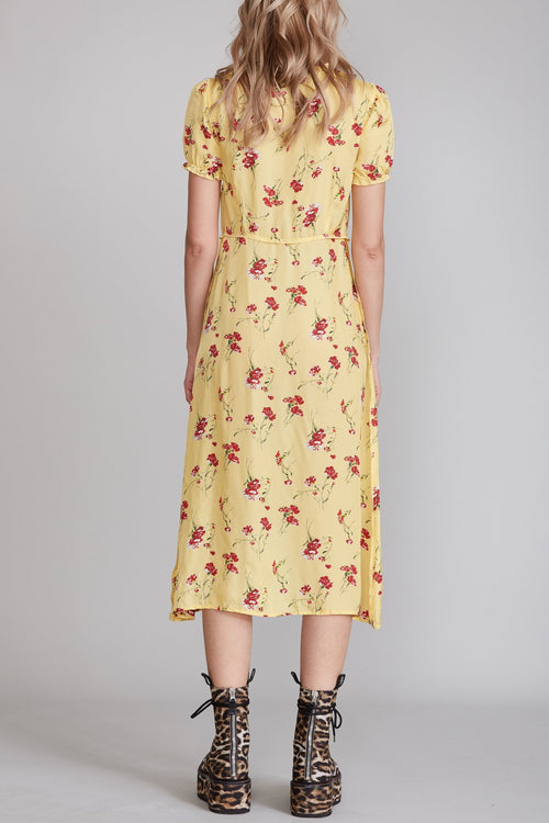 Front Button-up Midi Dress - Yellow Floral