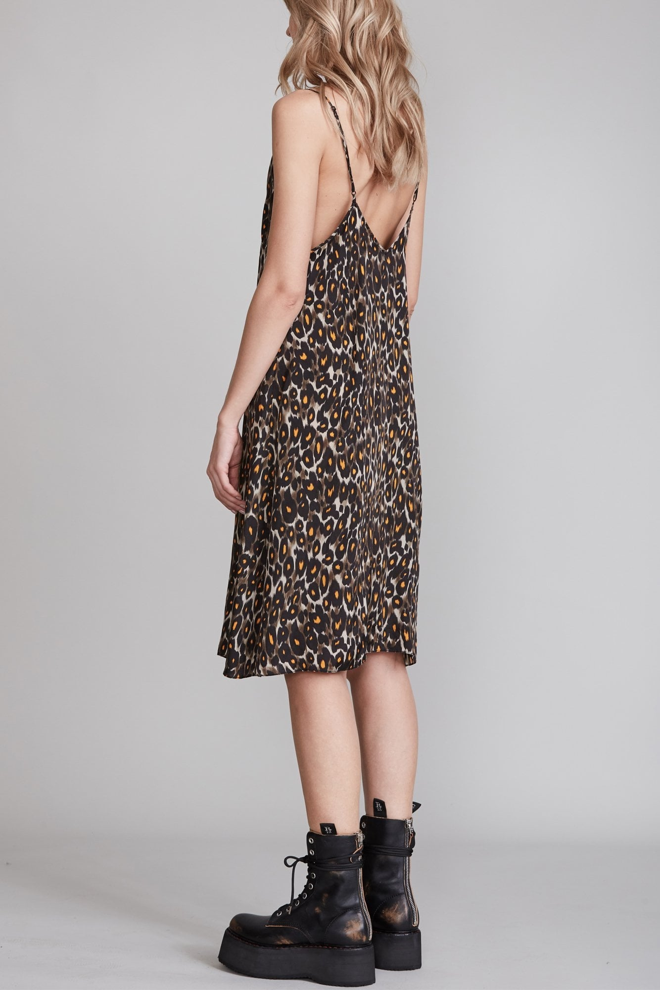 Midi Slip Dress with Back Tie - Grey and Orange Leopard