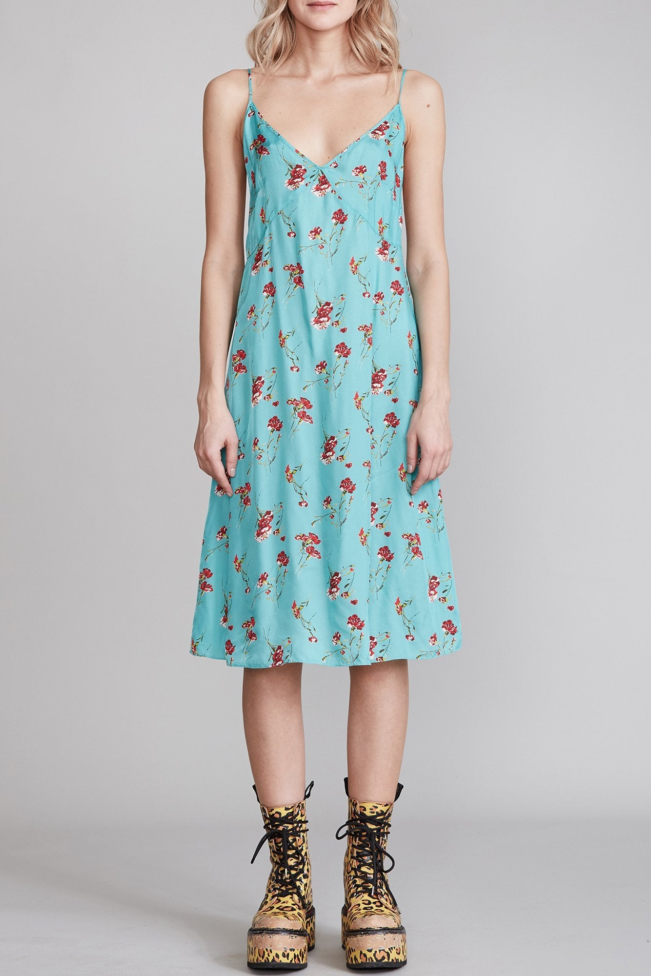 Midi Slip with Back Tie - Light Blue Floral