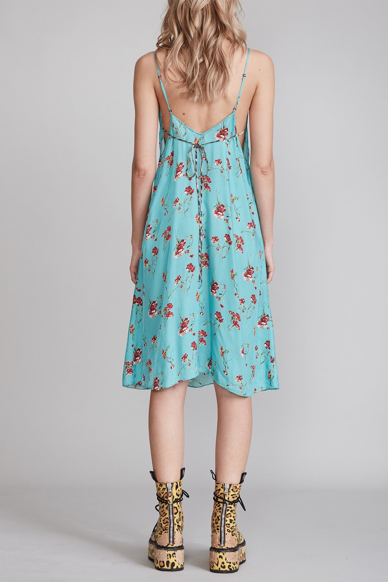 Midi Slip Dress with Back Tie - Light Blue Floral