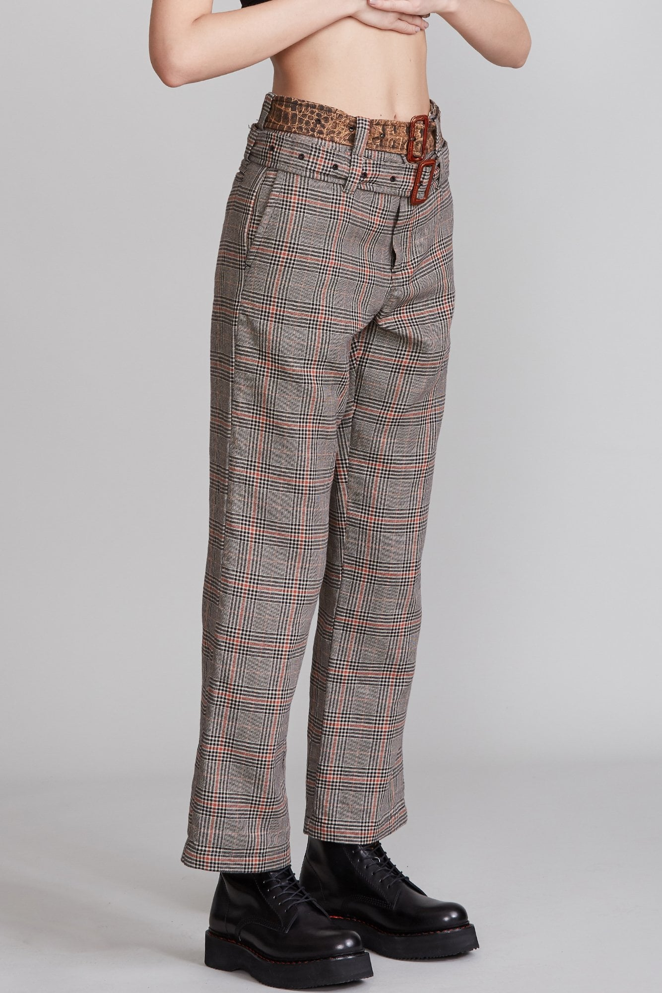 Slouch Pant with Double Belt - Multi Plaid