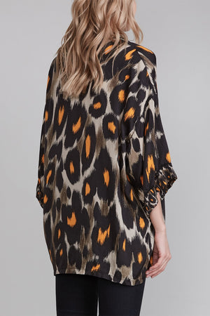 Short Sleeve Pajama Top - Grey and Orange Leopard