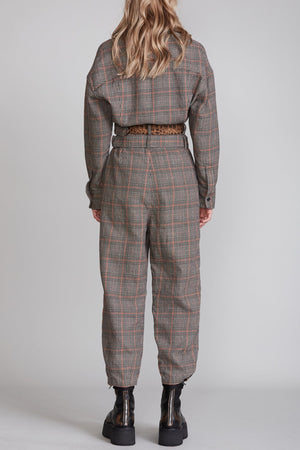 Utility Jumpsuit with Double Belt - Multi Plaid
