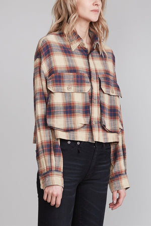 Oversized Cropped Shirt - Beige Plaid